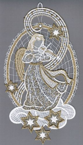 Embroidered Lace Golden Angel with Violin Christmas Window Picture